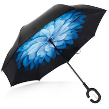 Blue Car Double Layer UV Protection Windproof Umbrella with C-type Rubber Handle