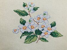 Completed Finished Cross Stitch, White Flowers