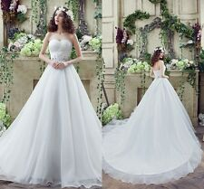 Cheap White /Ivory Wedding Dresses Ball Gown Organza Crsytals Lace Bridal Gowns