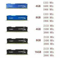 4GB 8GB 16GB 32GB Kingston HyperX DDR3 DDR4 1333 1600 1866 2133 2400 2666Mhz Lot
