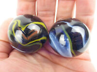 2 BOULDERS 35mm MICHELANGELO Marbles glass Clear Cobalt Blue LARGE HUGE Swirl