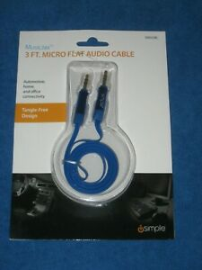 iSimple ISMJ23BL 3ft 3.5MM Micro Flat Deluxe Tanglefree Audio Cable, Blue, New!