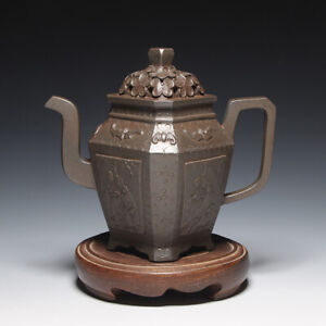 "OldZiSha-Superb China Yixing Zisha Old 300cc ""Appliqued & Hollowed-Out"" Teapot"
