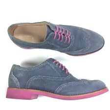 Cole Haan 'Alisa' Woman's Oxford Sz 6.5 B Blue SUEDE Wingtip Shoes w/ Pink Soles
