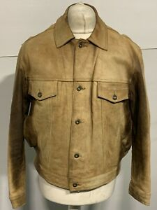 VINTAGE 80'S REDSKINS DISTRESSED LEATHER TRUCKERS JACKET SIZE M