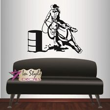 Vinyl Decal Cowgirl on Horse Barrel Racing Woman Western Wall Art Sticker 261