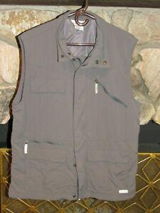 COLUMBIA Titanium Gray Full Zip Fishing Hiking Photographer Vest Size L