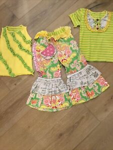 Mustard Pie VGUC Girl's Lime Green Ruffled 3 Piece Pants Set 5-8