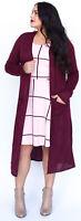 Agnes & Dora Duster Burgundy Red Maroon Long Light Sweater Pockets Womens S