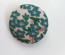 Lovely vintage fabric Japanese Style Print brooch Turquoise