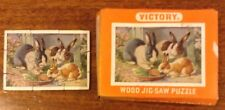 Vintage Mminiature Jigsaw Puzzle  wooden, 9 Pieces Rabbit Family. In Box