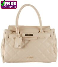 Posh Taupe Quilted Tote Faux Leather New Handbag Purse. By Joe's Jeans