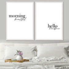 Morning Beautiful/ Hello Handsome Bedroom Quote Set Art Print Poster A4 A3 A2 A1