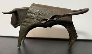 Vintage Brutalist Fused Salvaged Metal Folk Art Horned Steer Bull Sculpture