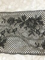 1920s Antique Black Lace Trim Ribbon Vintage Retro Black Silk Blend Lace