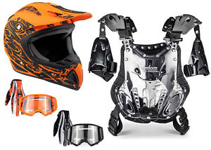 Adult Chest Protector Combo Orange Helmet Gloves Goggles Motocross DOT