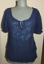 ABERCROMBIE & FITCH Ladies NAVY Short Sleeve Top  Floral Embroidery MEDIUM   EUC