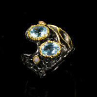 Natural Blue Topaz 925 Sterling Silver Ring Size 6.75/RR17-1052
