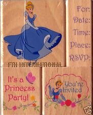Princess Party ~ 4 piece Disney Wood Mount Rubber Stamp Set #47564, Invitation