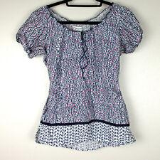 Peaches Uniforms Size XS Scrub Top White Blue Pink Print Shirt