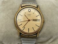 Vintage Wristwatch Timex Quartz Men Analog Watch Date/Day Calendar Water Resista