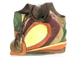 Fossil Key Fifty-Four Large Leather Suede Patchwork Hobo Bag Shoulder Purse