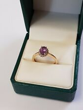 9ct Yellow Gold Amethyst and Diamonds Ring
