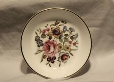 "Royal Worcester #51 Fine Bone China Dish 4"" with Flowers and Gold Trim"