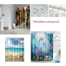 180x200cm Waterproof Pattern Shower Curtain Hooks Polyester Bathroom Fabric MA