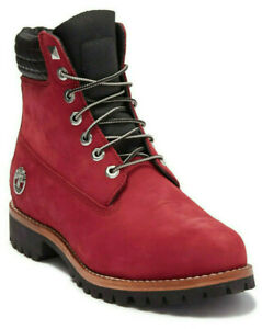 """Timberland Exclusive Men's 6"""" Inch Heritage Boots Dark Red Nubuck Leather Size 9"""