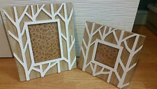 Photo Frame with White Branches  set of 2 picture frames shabby chic tree