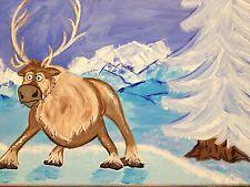 Frozen Sven Comic Pop Art Painting Hand Painted, fantasy