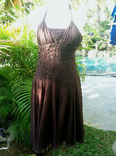 NWT BCBG MAXAZRIA SIZE 4 100% Silk Brown Halter Dress w/Lace Chiffon Overlay