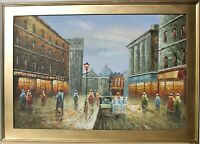 Original oil painting on canvas, cityscape, Paris, unsigned, framed