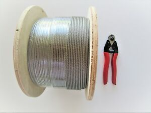 Marine Stainless Steel G316 Balustrade Wire Cable Rope 3.2mm -7 x 7 - choose qty