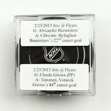 2012-13 Claude Giroux & Alexander Burmistrov Flyers/Jets Double Goal Puck