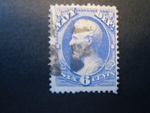 1873 US S# O38,  6c ultra, Navy hard paper Official Stamp  Used vg+