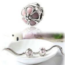 1PC Charm Flower Clip Clasp 925 Silver Plated European Bracelet Jewelry Making