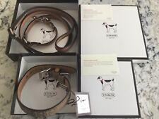 COACH Signature Leather Brown Dog Collar + Leash Set Small