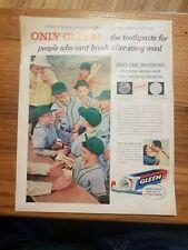 """1957 Gleem Toothpaste Vintage Magazine Ad """"Just on Brushing"""""""