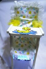 "Redone Ducks painted colorful wood high chair w/ Fits 15-21"" Dolls"