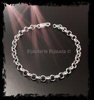 Bracelet Maille Jaseron 19CM En Argent Massif 925/1000 Bijoux Femme