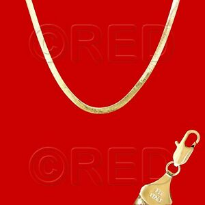 """GOLD over SILVER QUALITY MADE in ITALY 5mm HERRINGBONE CHAIN 20""""  NECKLACE VH5F"""