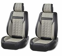 Deluxe Grey Black PU Leather Front Seat Covers For BMW 3 5 7 X1 X3 X5 X6 series