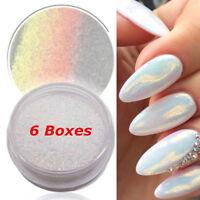 6PCS Nail Art Powder Dust Iridescent Trend Mirror Mermaid Effect Glitter Pigment