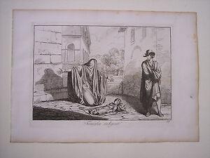 Bartolomeo Pinelli FAMIGLIA INDIGENTE, costumi di Roma, acquaforte, 1815