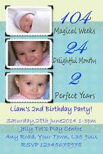 20 personalised My 2nd Birthday party  invitations Posted 1stclass blue