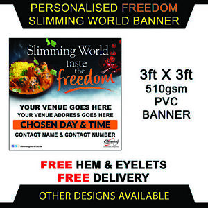 Slimming World Freedom Curry Personalised Pvc Vinyl Banner Outdoor Sign 3ftx3ft