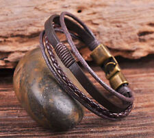 S532 Brown Cool Leather & Hemp Hand Braid Bracelet Wristband Men's Cuff Bronze