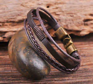 S532 Brown Cool Leather & Hemp Handcfaft Bracelet Wristband Men's Cuff Bronze